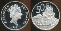 World Coins - New Zealand, 1989 Fifty Cents, 50c, Elizabeth II - Proof