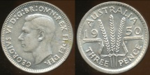World Coins - Australia, 1950 Threepence, George VI (Silver) - Uncirculated
