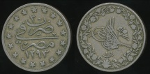 World Coins - Egypt, Ottoman Empire, Abdul Hamid II, AH1293/30 (1904) Qirsh - Very Fine