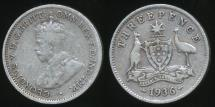 World Coins - Australia, 1936 Threepence, 3d, George V (Silver) - Very Good