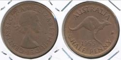 World Coins - Australia, 1955(p) Halfpenny, 1/2d, Elizabeth II (Without dot) - aUncirculated