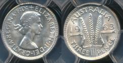 World Coins - Australia, 1963(m) Threepence, 3d, Elizabeth II (Silver) - PCGS MS67 (Gem Unc)