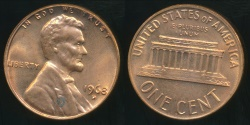 World Coins - United States, 1968-D One Cent, Lincoln Memorial - Uncirculated