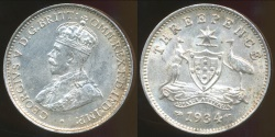 World Coins - Australia, 1934 Threepence, 3d, George V (Silver) - Uncirculated