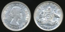 World Coins - Australia, 1961 Sixpence, 6d, Elizabeth II (Silver) - Extra Fine