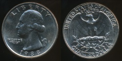 World Coins - United States, 1988-P Quarter, 1/4 Dollar, Washington - Uncirculated