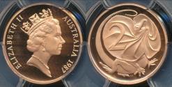 World Coins - Australia, 1987 Two Cents, 2c, Elizabeth II - PCGS PR69DCAM (Proof)