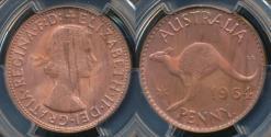 World Coins - Australia, 1964(p) One Penny, 1d, Elizabeth II - PCGS MS64RB (Ch-Unc)
