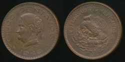 World Coins - Mexico, United States, 1946 5 Centavos - Uncirculated