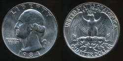 World Coins - United States, 1984-P Quarter, 1/4 Dollar, Washington - Uncirculated