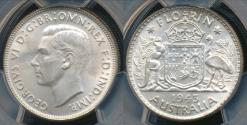 World Coins - Australia, 1943(m) Florin, 2/-, George VI (Silver) - PCGS MS63 (Ch-Unc)