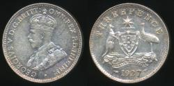 World Coins - Australia, 1927 Threepence, 3d, George V (Silver) - Uncirculated