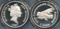 World Coins - New Zealand, 1989 One Dollar $1 Swimmer (Silver) - PCGS PR69DCAM (Proof)