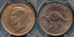 World Coins - Australia, 1948(m) One Penny, 1d, George VI - PCGS MS64RB (Ch-Unc)