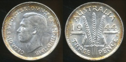 World Coins - Australia, 1944(s) Threepence, George VI (Silver) - Uncirculated