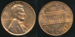 World Coins - United States, 1961 One Cent, Lincoln Memorial - Uncirculated