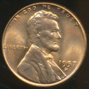 World Coins - United States, 1957-D One Cent, Lincoln Wheat - Choice Uncirculated