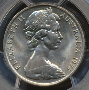 World Coins - Australia, 1975 Twenty Cents, 20c, Elizabeth II - PCGS MS65