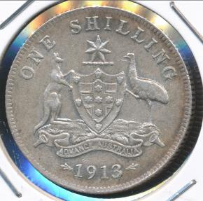 World Coins - Australia, 1913 One Shilling, 1/-, George V (Silver) - Very Fine