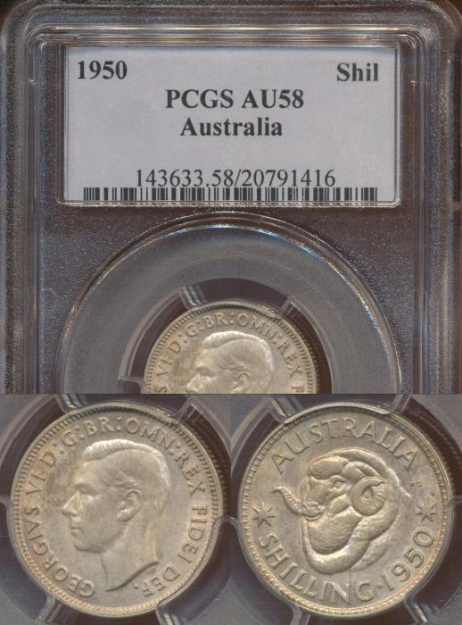 World Coins - Australia, 1950 Shilling - PCGS AU58