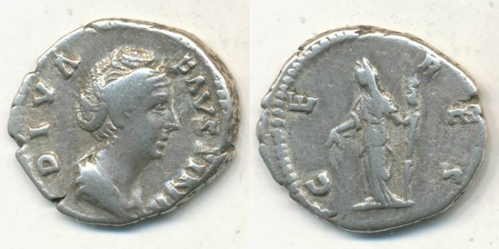 Ancient Coins - DIVA FAVSTINA, AR Denarius, AD 141, Rome - RIC 378
