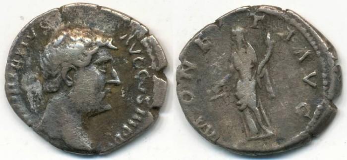 Ancient Coins - HADRIAN, AR Denarius, AD 117-138, Rome mint, (19mm, 3.08 gm) - RIC 256