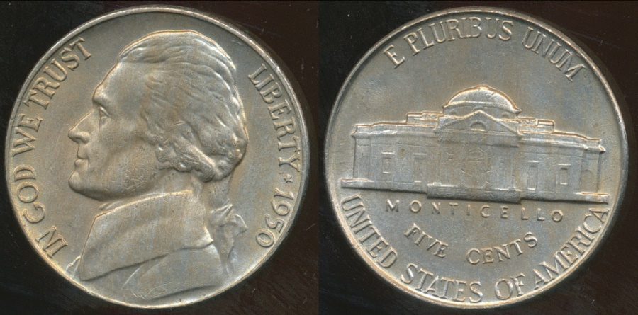 World Coins - United States, 1950 5 Cents, Jefferson Nickel - Uncirculated