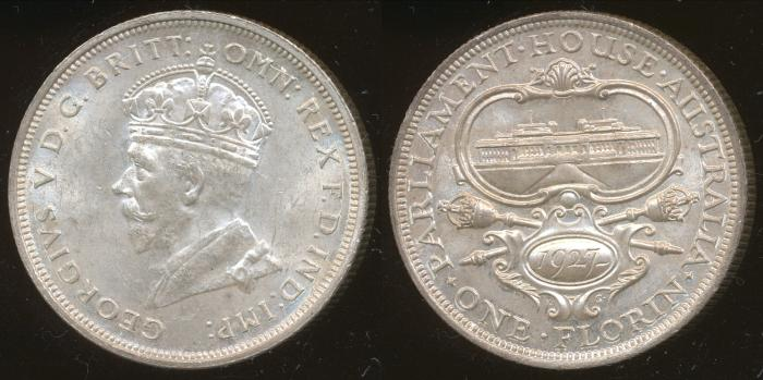 World Coins - Australia, 1927 Canberra Florin, George V - Unc