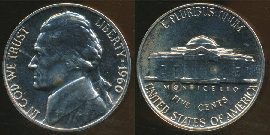 World Coins - United States, 1960 5 Cents, Jefferson Nickel - Proof