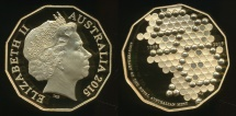 World Coins - Australia, 2015 Fifty Cents, 50c, Elizabeth II (50th Anniversary Gold Plated) - Proof