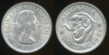 World Coins - Australia, 1961 One Shilling, Elizabeth II (Silver) - almost Uncirculated