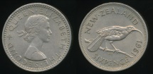 World Coins - New Zealand, 1961 Sixpence, 6d, Elizabeth II - almost Uncirculated