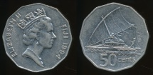 Fiji, Republic, 1994 50 Cents, Elizabeth II - Extra Fine