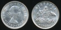 World Coins - Australia, 1958 Sixpence, 6d, Elizabeth II (Silver) - almost Uncirculated