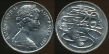 World Coins - Australia, 1977 Canberra 20 Cent, Elizabeth II - Choice Uncirculated