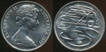 World Coins - Australia, 1977 Canberra 20 Cent, Elizabeth II - Choice Uncirculated