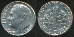 World Coins - United States, 1977-D Dime, Roosevelt - Uncirculated