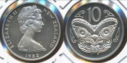 World Coins - New Zealand, 1982 Ten Cents, 10c, Elizabeth II - Proof