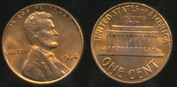 World Coins - United States, 1964 One Cent, Lincoln Memorial - Uncirculated