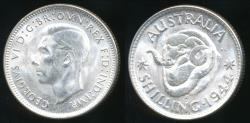 World Coins - Australia, 1944(s) One Shilling, 1/-, George VI (Silver) - Uncirculated