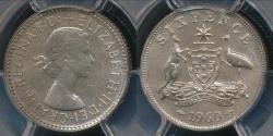 World Coins - Australia, 1960(m) Sixpence, 6d, Elizabeth II (Silver) - PCGS PR66 (Proof)