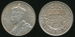 World Coins - New Zealand, 1934 1/2 Crown, George V (Silver) - good Extra Fine/almost Uncirculated