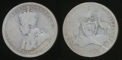 World Coins - Australia, 1917(m) Florin, 2/-, George V (Silver) - Well Circulated
