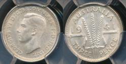 World Coins - Australia, 1941(m) Threepence, 3d, George VI (Silver) - PCGS MS64 (Ch-Unc)