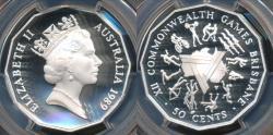 World Coins - Australia, 1989 Fifty Cents, 50c, Elizabeth II (Silver) - PCGS PR69DCAM (Proof)