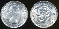 World Coins - Australia, 1961 One Shilling, 1/-, Elizabeth II (Silver) - Uncirculated