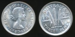 World Coins - Australia, 1957 Threepence, 3d, Elizabeth II (Silver) - Uncirculated