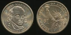 World Coins - United States, 2007-D James Madison Presidential Dollar, $1 - Uncirculated