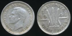World Coins - Australia, 1941 Threepence, 3d, George VI (Silver) - Fine