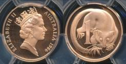 World Coins - Australia, 1986 One Cent, 1c, Elizabeth II - PCGS PR69DCAM (Proof)